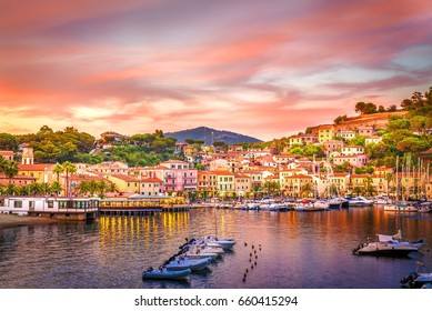 Harbor and village  Porto Azzurro at sunset, Elba islands, Tuscany, Italy.