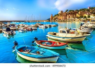 Harbor and village  Rio Marina, Elba islands, Tuscany, Italy