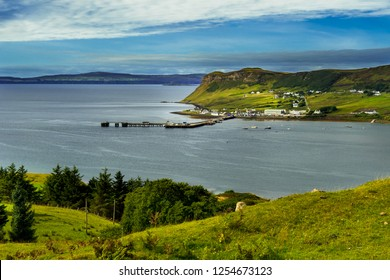 Harbor Of The Village Uig At The Coast Of The Isle Of Skye In Scotland