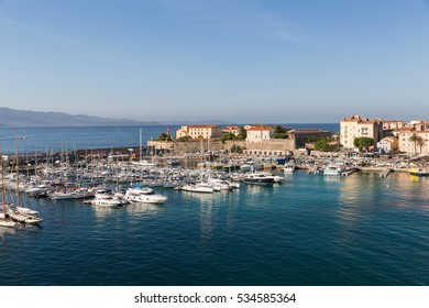 The harbour in Ajaccio on the island of Corsica with different boats in from the sea