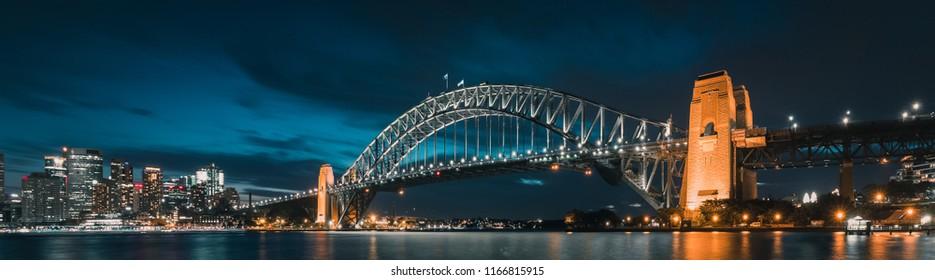 Harbour Bridge at Night Panorama, Sydney, Australia.