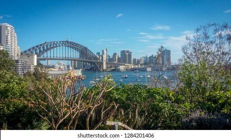 Harbour Bridge in Sydney, viewed from Wendy's Secret Garden