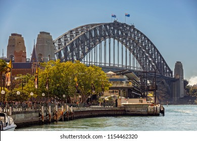 Harbour Bridge/Sydney/AUSTRALIA -  August 13, 2018: The most famous attraction in the city of Sydney, Habour Bridge, viewing from Circular Quay