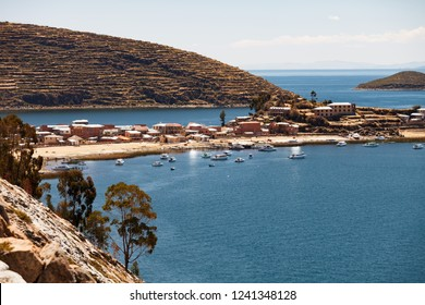 Harbour of Challapampa village on Isla del Sol, Lake Titicaca, Bolivia.