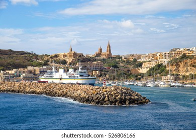 Harbour and dock of Gozo island, Malta, called Mgarr. Place where ferries from Malta to Gozo arrive and dock.