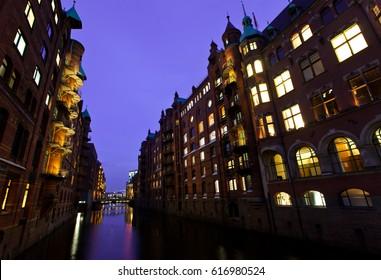 Harbour of Hamburg at night. Germany.