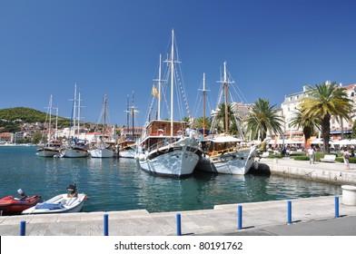 Harbour of Hvar with boats, Split Croatia