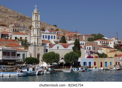 the harbour of the island Chalki, Greece