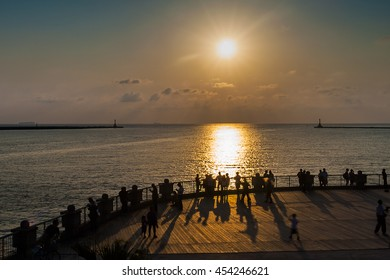 Harbour of Kaohsiung, Gushan district, Kaohsiung, Taiwan - JULY 10, 2016 : Pier near the harbor of Kaohsiung in the Gushan district of Kaohsiung.