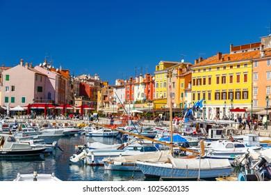 Harbour and marina in wonderful romantic old town of Rovinj Istrian Peninsula,Croatia,Europe