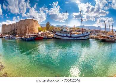 The harbour and medieval castle at Kyrenia. Cyprus.