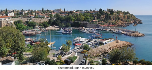 Harbour in Old town, Antalia Turkey. Panorama