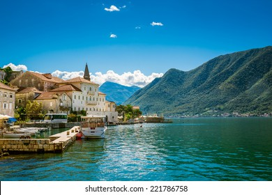 Harbour in Perast at Boka Kotor bay (Boka Kotorska), Montenegro, Europe.