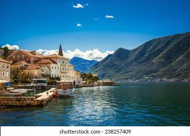 Harbour in Perast at Boka Kotor bay (Boka Kotorska), Montenegro, Europe. Retro style toning image.