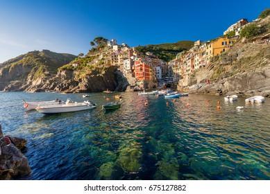 the harbour of Riomaggiore in Cinque Terre