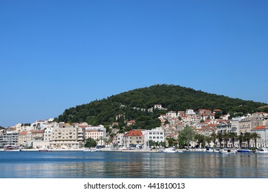 Harbour of Split and Marjan Hill in the city of Split, a popular tourist destination, Croatia