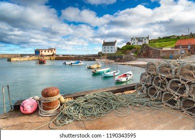 The harbour at St Abbs, a pretty fishing village near Eyemouth on the east coast of Scotland