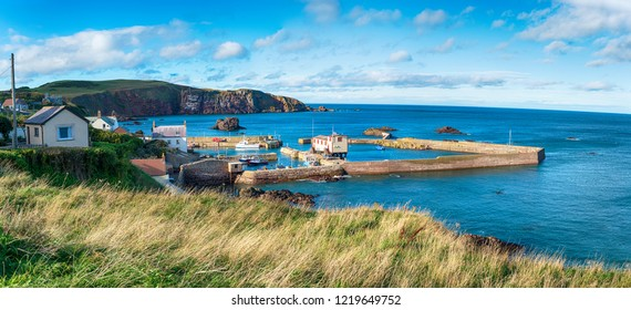 The harbour at St Abbs, a pretty village in Berwickshire in Scotland