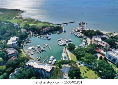HARBOUR TOWN, HILTON HEAD ISLAND, SC, USA - SEPTEMBER 2019: Aerial view of boats moored in the marina