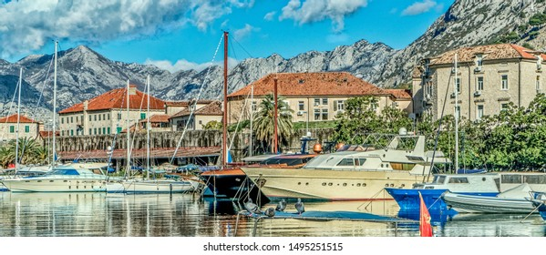 Harbour in the town of Kotor, Montenegro on the Adriatic coast.