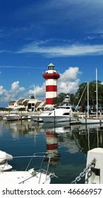 Harbour Town lighthouse over marina in Hilton Head Island, SC