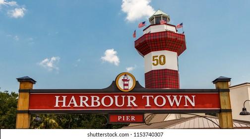 Harbour Town Pier, Hilton Head Island, SC - July 13, 2018: Harbour Town Pier Sign