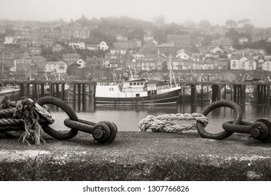 Harbour wall at the fishing port of Newlyn, Cornwall.