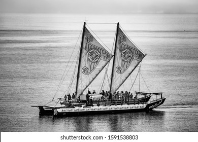 The harbour, Wellington / New Zealand February 28, 2018 Hinemoana Waka is a  72 foot, double masted Vaka Moanas, designed and built by the Okeanos Foundation for the Sea in 2009/2010 at Salthouse Boat