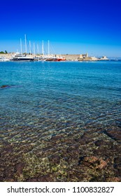 Harbour with yachts and boats in medieval City of Rhodes (Rhodes, Greece)