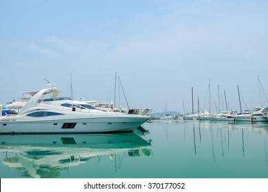 Harbour with a yatch