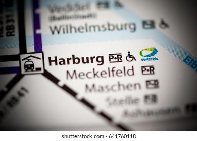 Harburg Station. Hamburg Metro map.