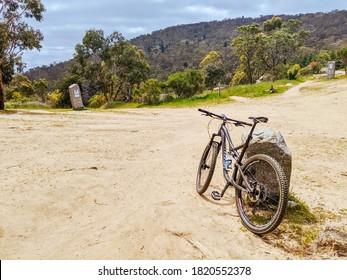 Harcourt, Australia - October 20th 2019: A warm day at La Larr Ba Gauwa Park mountain bike park in Harcourt, Victoria, Australia