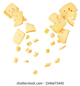 Hard cheese cut into strips and cubes isolated on a white background