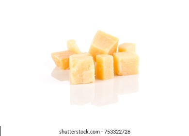 Hard cheese isolated on a white background