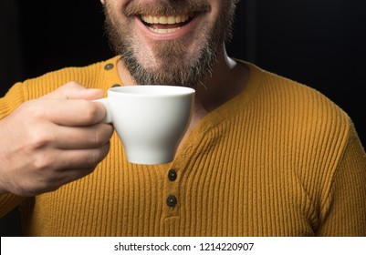 Hard Coffee addict. My smile is not perfect. Dental care concept. Healthy white smile. Laser teeth whitening