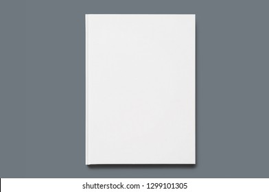 Hard cover white book mockup, White realistic blank of A4 and A5 catalog on a gray background