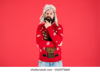 Hard decision. Decision making. Make christmas wish. Life changing decision. Hipster bearded man wear winter sweater and hat. Happy new year. Winter party outfit. Man thoughtful face expression.