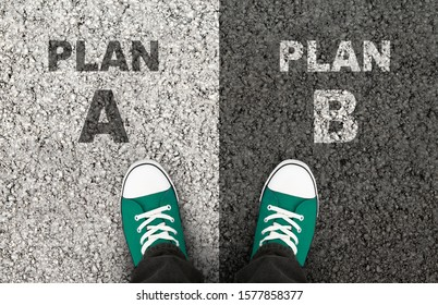Hard Decision. Man is at the crossroad of plan A and B. Top view.