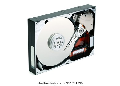 Hard disc drive isolated on white