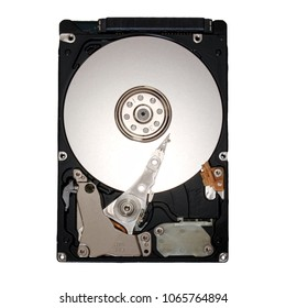 A hard disk with all its mechanical parts.