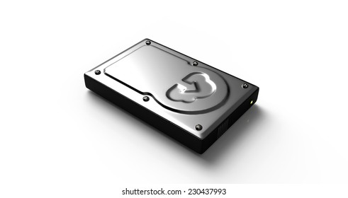 Hard Disk with the Cloud upload symbol