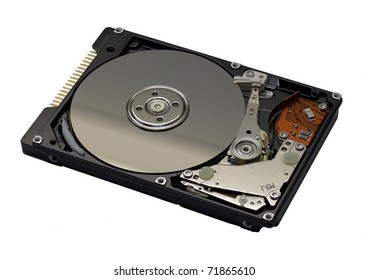Hard disk drive internals isolated on white