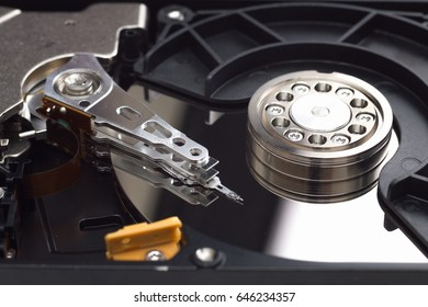 hard disk drive open case closeup