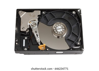 hard disk drive open case isolated on white background