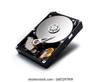Hard disk isolated on a white background. Computer HDD Hard Disk Drive. Computer Storage Memory