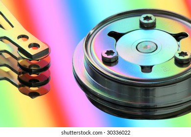 hard disk with rainbow reflection