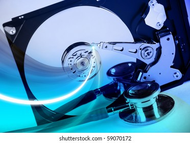 Hard drive with an abstract blue background