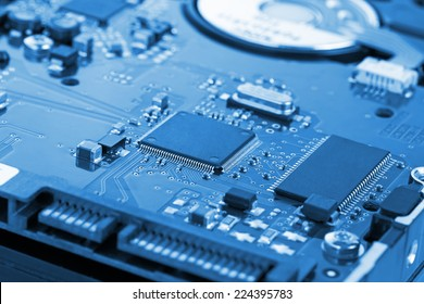 Hard drive to the computer closeup board