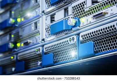 The hard drive in computer server is close-up. Data storage is performed on media. Selective focus
