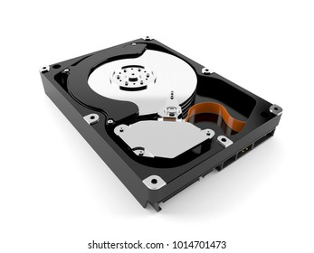Hard drive isolated on white background. 3d illustration